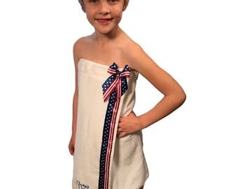 Beach Cover Up - White or Red or Blue - Bath Wrap - 4th of July Apparel