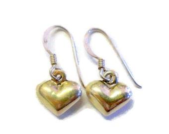 Vintage Puffy Heart Sterling Silver Earrings 925