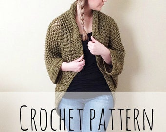 Cozy Cocoon Sweater, crochet pattern, crochet, cocoon sweater, puff stitch, sweater, shrug, cardigan, handmade