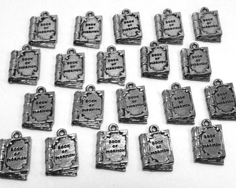 """Twenty (20) Pewter """"Book of Mormon"""" Charms - Free Shipping in the US - 0079"""