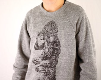 FREE SHIPPING - UNISEX - Teedyuscung Wissahickon Native American Indian Statue - Paul Carpenter Art - Unisex Comfy Cozy Crew Sweatshirt