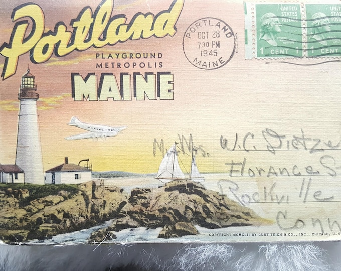 Fold Out Vintage Postcard-Greetings From Portland Maine 1945 Postmark
