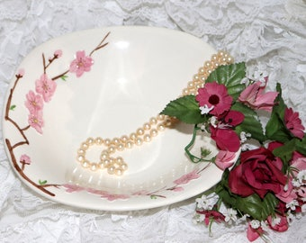 Vintage Metlox Poppy Trail Peach Blossom - Square Serving Bowl - Excellent Condition - Made in California - 1952 to 1962