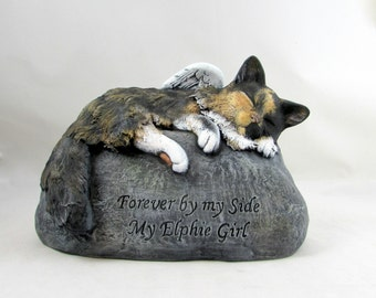Ceramic Engraved Painted medium haired Bottom Loading Cat Cremation Urn - hand made pet urn