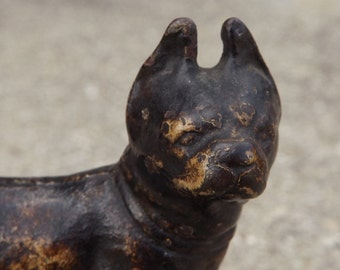 Vintage Bulldog Statue Cast Iron Paperweight