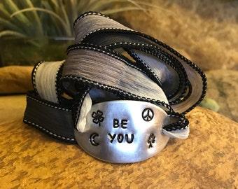 Be you silk wrap bracelet - hand stamped yoga jewelry - gifts for men or women - black yoga bracelet- Earthy