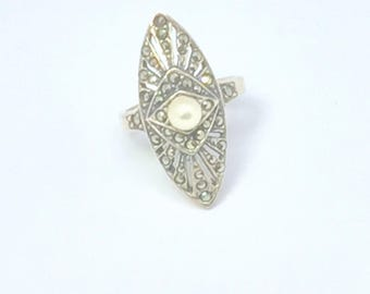 STERLING Silver MARCASITE RING - Geometric Design -  Marquis Shaped -  Workmanship - Hallmarked