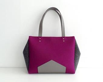 Purple Gray Felt Leather Handbag