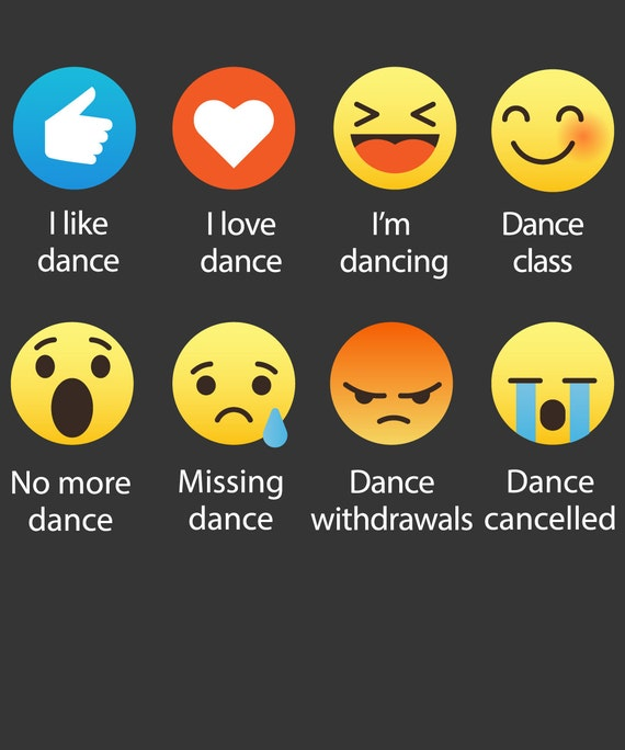 Emoji (emoticon) I Love DANCE Sayings T-Shirt (RELAXED FIT)