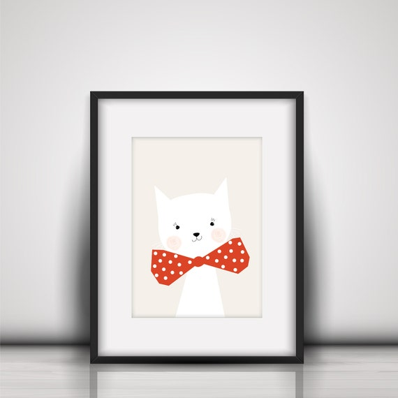 Adorable Cute White Cat Kitten Kitty Animal Print  - Digital Instant Download to print on your own printer or at a print shop