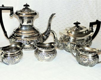 Vintage Cheltenham Holloware Silver Plate Coffee and Tea Set/ Serving Set of Five