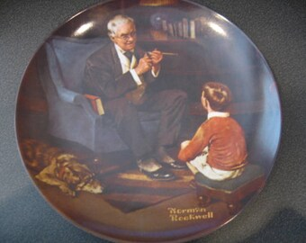 """Vintage Norman Rockwell Collectible China Plate-""""The Tycoon"""""""""""