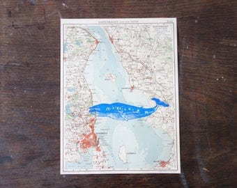 Copenhagen, printing whale blue on old Atlas page