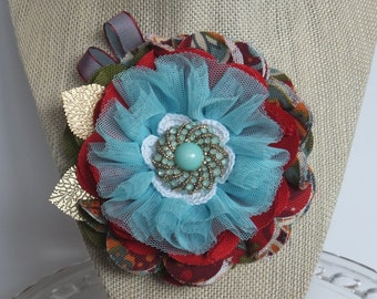 Boho Flower Corsage Pin Brooch for Hat, Wedding, Dress,  Fabric Flower pin, Fabric Flower Brooch
