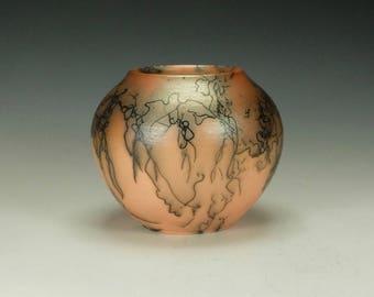 Horse Hair Raku Pottery.  Orange Terra Sigillata, hand polished.  Ready to ship.