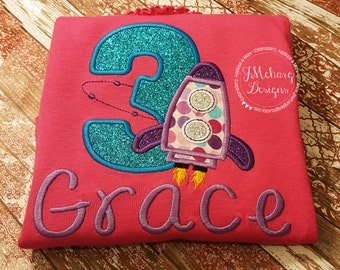 Girly Space Birthday Shirt - Rocket Ship Birthday Shirt -  Custom Tee Personalized Birthday Tee 111