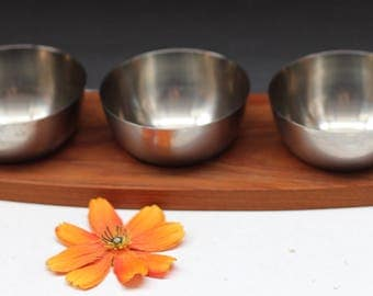Beautiful Danish Teak/Stainless  serving set