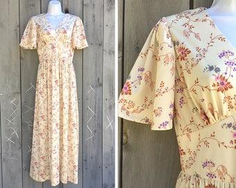 Vintage dress | 1970s dreamy pastel floral empire waist soft knit maxi dress