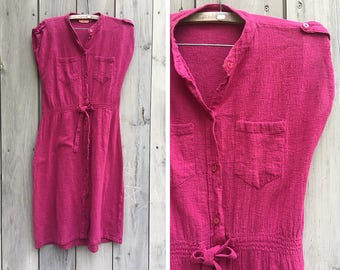 "Vintage dress | 90s vintage ""Amber"" mauve Indian cotton boho dress"
