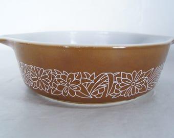 Pyrex Brown Woodland 471-B 500ml Oven Safe Single Serving Side Dish Vintage Glass