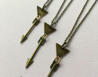 Grounding Necklace - Triangle & Arrow Charm Necklace - Fine Bronze Chain, Antique, Charm Necklace