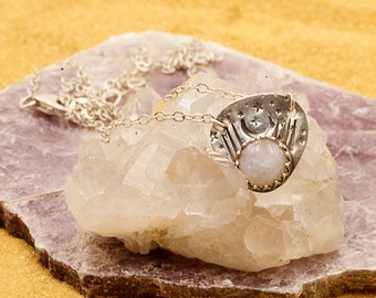 crescent moon necklace w/ moonstone