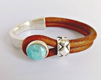 Turquoise jewelry, turquoise bracelet, bracelets for women, turquoise, leather bracelet, gift for her, leather jewelry, boho bracelet, K1992