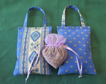 Lavender sachets.French Lavender. Fabric from Provence , France. Esterel in blue.Gift for her.
