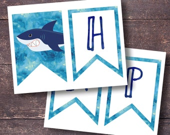 Shark Banner, Printable Shark Banner, Shark Party Decorations, Shark Birthday Party, Shark Birthday Decor, Printable Shark Decorations