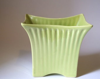 Mid Century Chartreuse Green Ceramic Vase Planter by Marietta Modern