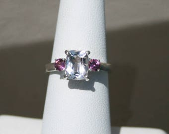 Morganite with Rhodolite Garnet Accents Ring Pink Three Stone Sterling Silver Ring Size 6.5