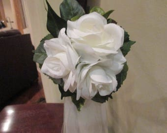 10 Wedding Pew Bows*Greenery* Color of the Year*Ivory Roses