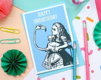 Alice in Wonderland Card. Alice Unbirthday Card. Birthday Card. Book Lover. Wonderland Card. Alice. Literary Gifts. Mad Hatter. Alice