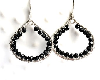 Faceted Black Garnet Sterling Wire Wrapped Earrings