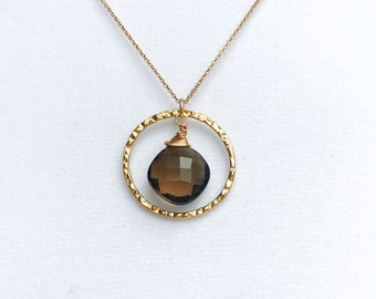 Faceted Smoky Quartz 14k Gold Fill Hammered Hoop Necklace