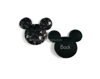 """Minnie / Mickey Mouse Black Inspired Appliques - Flat Back Sequin Pads Puffs Puffy Embellishment 2.5"""" x 2"""" - 3 Pieces"""