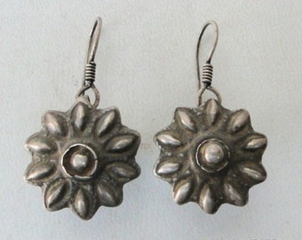 Antique Ethnic Tribal Old Silver Earring Ear Plug Pair
