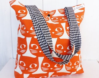Shopping bag / tote bag fabrics reasons cats Orange and black and white Triangles