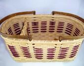 "Handmade Divided Market Basket on Wood Base - ""Shelley"""