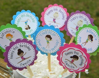Gymnastics Cupcake Toppers - Personalized Gymnastics Party Cupcake Toppers - Gymnastics Party Cupcake Toppers - Gymnatics Favors