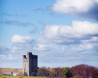 Irish Castle,Old Tower Ireland,Irish Landscape photography,Ireland photography,blue skies,farmland,home wall decor print,castle print,cloudy