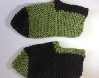 Slippers - Green and brown - EUR size 38-40 - Handmade