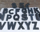 Vintage Black Plastic 8 Inch Letters Your Choice B C F G H K N P Q S T U V W X Y Z 5 8 Number Indoor Outdoor Wagner Sign Mid Century Sign