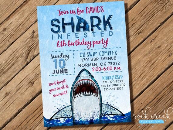 Shark attack invitation shark party shark invitation shark pool il570xn filmwisefo