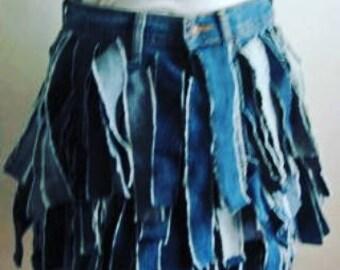Deconstructed Shredded Recycled Denim Skirt