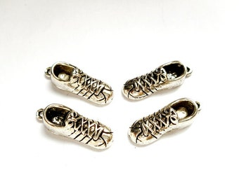 4 Antique Silver Athletic Tennis Shoe Charms - 27-17-3