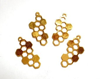 4 Gold Plated Honeycomb Charms - 21-11-7