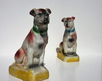 Vintage Pair of Chalkware Dogs Carnival Prizes with Detailed Face, Body, and Collar Each Dog in Seated Position Great Home Decor or Bookends