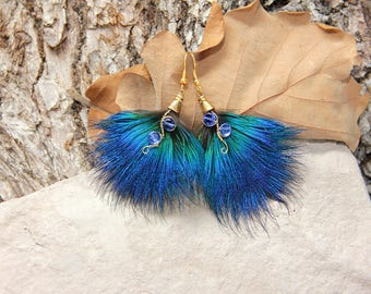 "Blue Feather Earrings Festival Feather Earrings ""Blue Drops"" Fashion Blue Feather Earrings Boho Feather Jewelry Bohemian Feather Earrings"