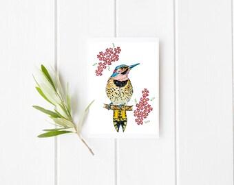 Bird and cherry blossom, bird card, thank you card, bird greeting card, bird illustration, bird blank card, flower blank card, flower card